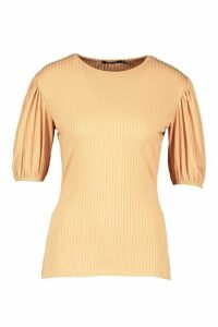 Womens Jumbo Rib Puff Shoulder Top - beige - 16, Beige