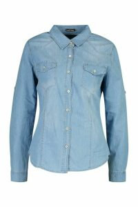 Womens Western Denim Shirt - blue - XL, Blue