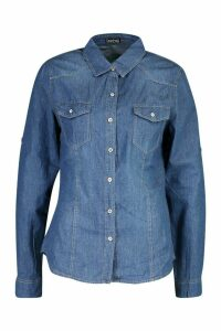 Womens Western Denim Shirt - blue - S, Blue