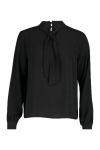 Womens Pussybow Blouse - black - 10, Black