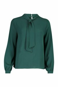 Womens Pussybow Blouse - green - 12, Green