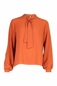 Womens Pussybow Blouse - orange - 10, Orange