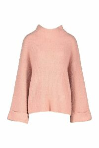 Womens Turn Up Cuff High Neck Fluffy Jumper - Pink - M, Pink