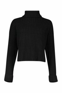 Womens Rib Knit Oversized Roll Neck Jumper - black - L, Black