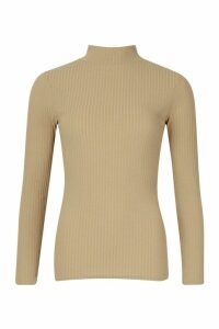 Womens roll/polo neck Rib Knit Jumper - green - 14, Green