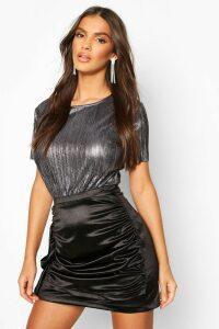 Womens Metallic Pleat T-Shirt - Black - 12, Black