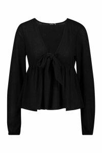 Womens Rib Tie Front Smock Peplum Top - Black - 12, Black