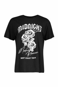 Womens Midnight Rose Slogan T-Shirt - black - M, Black