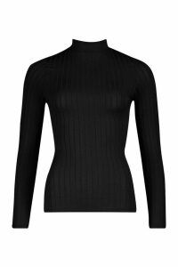 Womens Recycled Wide Rib roll/polo neck Top - black - 12, Black