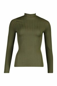 Womens Recycled Wide Rib roll/polo neck Top - green - 14, Green