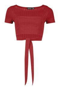 Womens Recycled Wide Rib Square Neck Tie Front Top - red - 12, Red