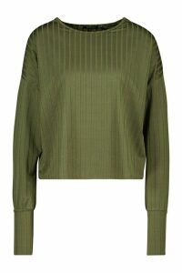 Womens Recycled Wide Rib Deep Cuff Slouch Top - green - 14, Green