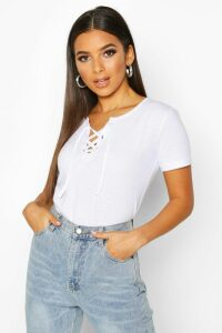 Womens Lace Up Detail T-Shirt - white - 14, White