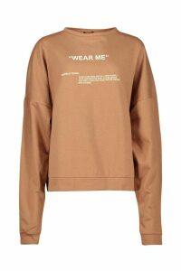 Womens Premium Oversized 'Wear Me' Slogan Sweatshirt - beige - M, Beige