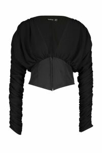 Womens Corset Style Long Sleeved Top - Black - 8, Black