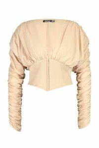 Womens Corset Style Long Sleeved Top - beige - 16, Beige