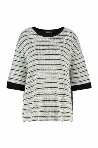 Womens Textured Stripe Rib Oversized Top - black - 10, Black