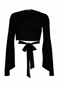 Womens Extreme Flared Sleeve Rib Tie Front Top - black - 16, Black