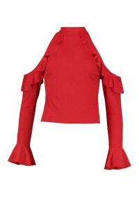 Womens Crepe Ruffle Cold Shoulder Top - red - 8, Red