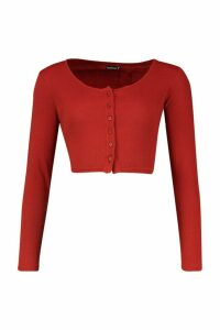 Womens Rib Button Through Long Sleeve Crop Top - Orange - 10, Orange