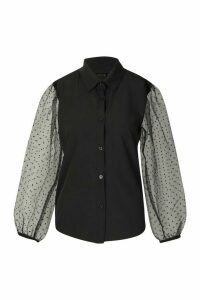 Womens Organza Spot Mesh Sleeve Shirt - black - M, Black