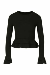Womens Ruffle Crepe Long Sleeved Peplum Top - black - 16, Black