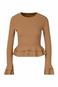 Womens Ruffle Crepe Long Sleeved Peplum Top - beige - 12, Beige