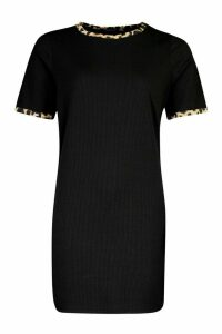 Womens Rib Leopard T-Shirt Dress - black - 10, Black