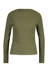 Womens Ribbed Crew Neck Long Sleeve Top - Green - 6, Green