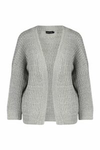 Womens Oversized Boxy Cardigan - grey - M, Grey