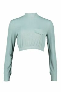 Womens Ribbed Pocket Detail Utility Top - blue - 14, Blue