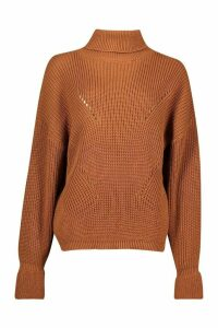 Womens Roll Neck Cuff Detail Fisherman Jumper - orange - S/M, Orange