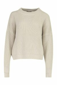Womens Open Knit roll/polo neck Jumper - beige - M, Beige