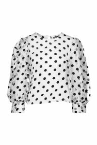 Womens Organza Mesh Polka Dot Volume Sleeve Blouse - white - 14, White