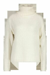 Womens Oversized Roll Neck Jumper - white - M, White