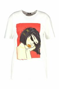 Womens Plus Face Graphic Slogan T-Shirt - white - 18, White