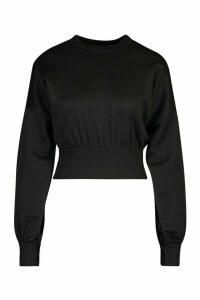 Womens Petite Balloon Sleeve Sweat Top - Black - 4, Black