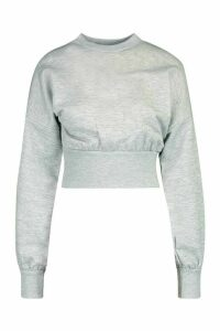 Womens Petite Balloon Sleeve Sweat Top - grey - 6, Grey