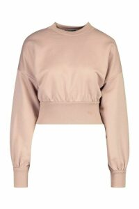 Womens Petite Balloon Sleeve Sweat Top - beige - 6, Beige