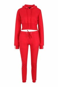 Womens Sports Stripe Hooded Tracksuit - red - 10, Red
