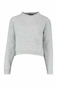 Womens Petite Waffle Knit Marl Knitted Jumper - Grey - M, Grey