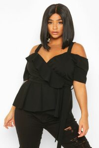 Womens Plus Plunge Ruffle Cold Shoulder Peplum Top - black - 22, Black