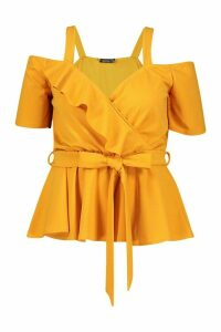 Womens Plus Plunge Ruffle Cold Shoulder Peplum Top - Yellow - 26, Yellow