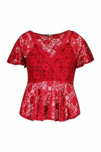 Womens Plus Lace Wrap Peplum Top - red - 26, Red