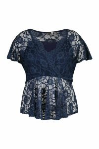 Womens Plus Lace Wrap Peplum Top - Navy - 26, Navy