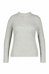 Womens Plus Marl Rib Roll Neck Longsleeve Top - grey - 24, Grey