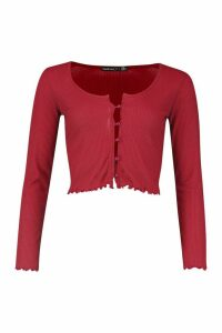 Womens Petite Brushed Ribbed Button Up Cardigan - Red - 6, Red