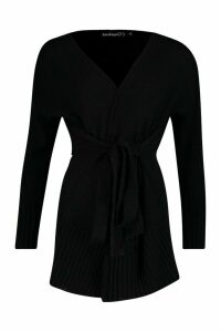 Womens Petite Self Belted Long Line Knit Cardigan - black - M, Black