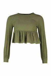 Womens Petite Rib Volume Sleeve Smock Top - green - 10, Green