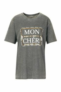 Womens Petite French Slogan Acid Wash T-Shirt - grey - M, Grey